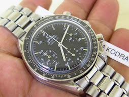 OMEGA SPEEDMASTER CHRONOGRAPH REDUCED MOONWATCH BLACK DIAL GHOST AGING BEZEL - AUTOMATIC -GOOD COND