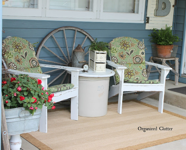 Vintage Decor on the Covered Patio www.organizedclutter.net