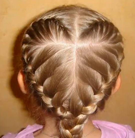 Плетение кос с 4 косичек