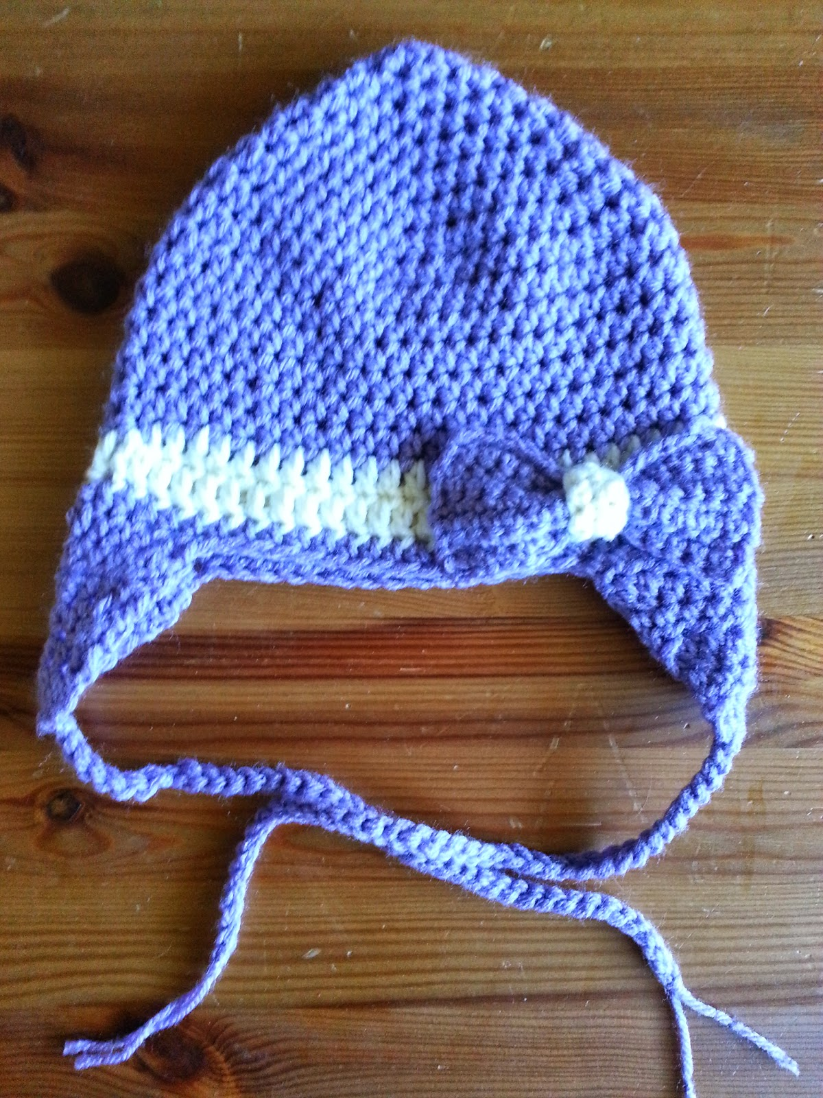 Crochet from J: Beanie with Ear Flaps and a Bow