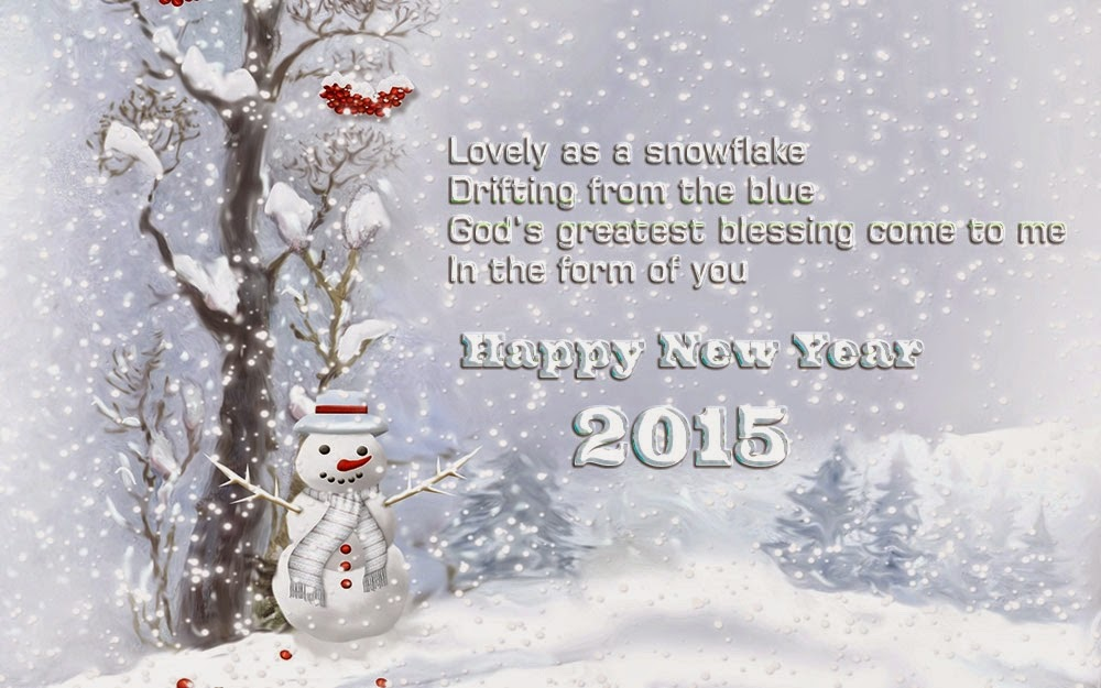 Christmas Tree Ice Snow New Year 2015 Greeting Wishes eCard