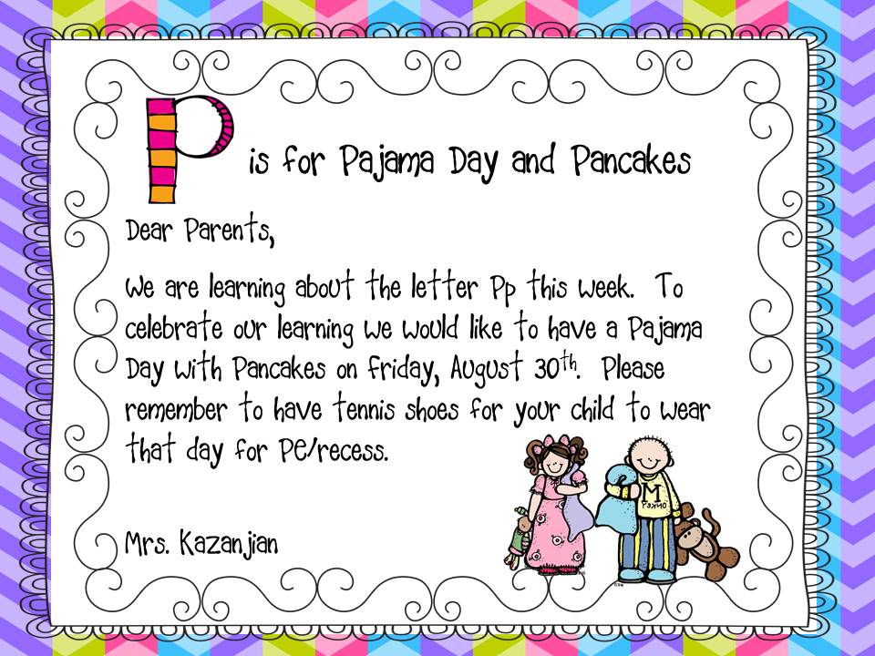 Pp Is For Pajama Day And Pancakes on Wish List Letter To Parents