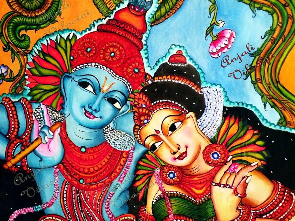 Fabric Painting Radha Krishna