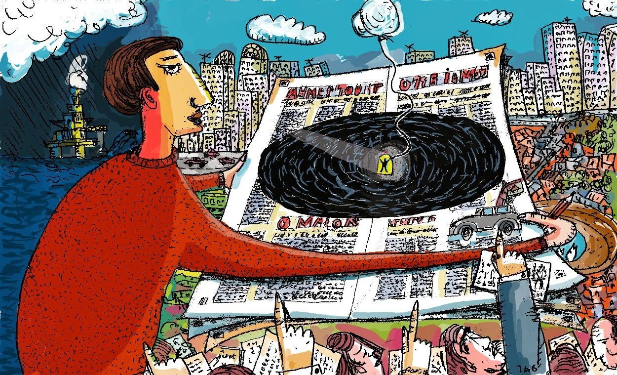 Ilustração feita para um artigo do Mauro Malin no Observatório da Imprensa - 2014 - MyPaint e Gimp.
