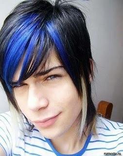Cabello azul electrico hombres
