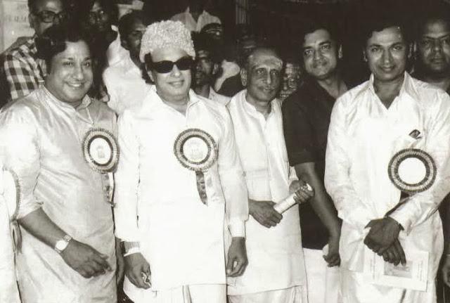 MGR with Kannada 'Super Star' Rajkumar & Sivaji Ganesan in a Film Function