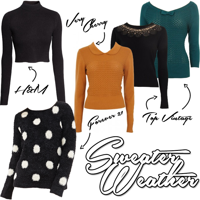 Collage with pretty vintage retro style fall / autumn sweaters and jumpers
