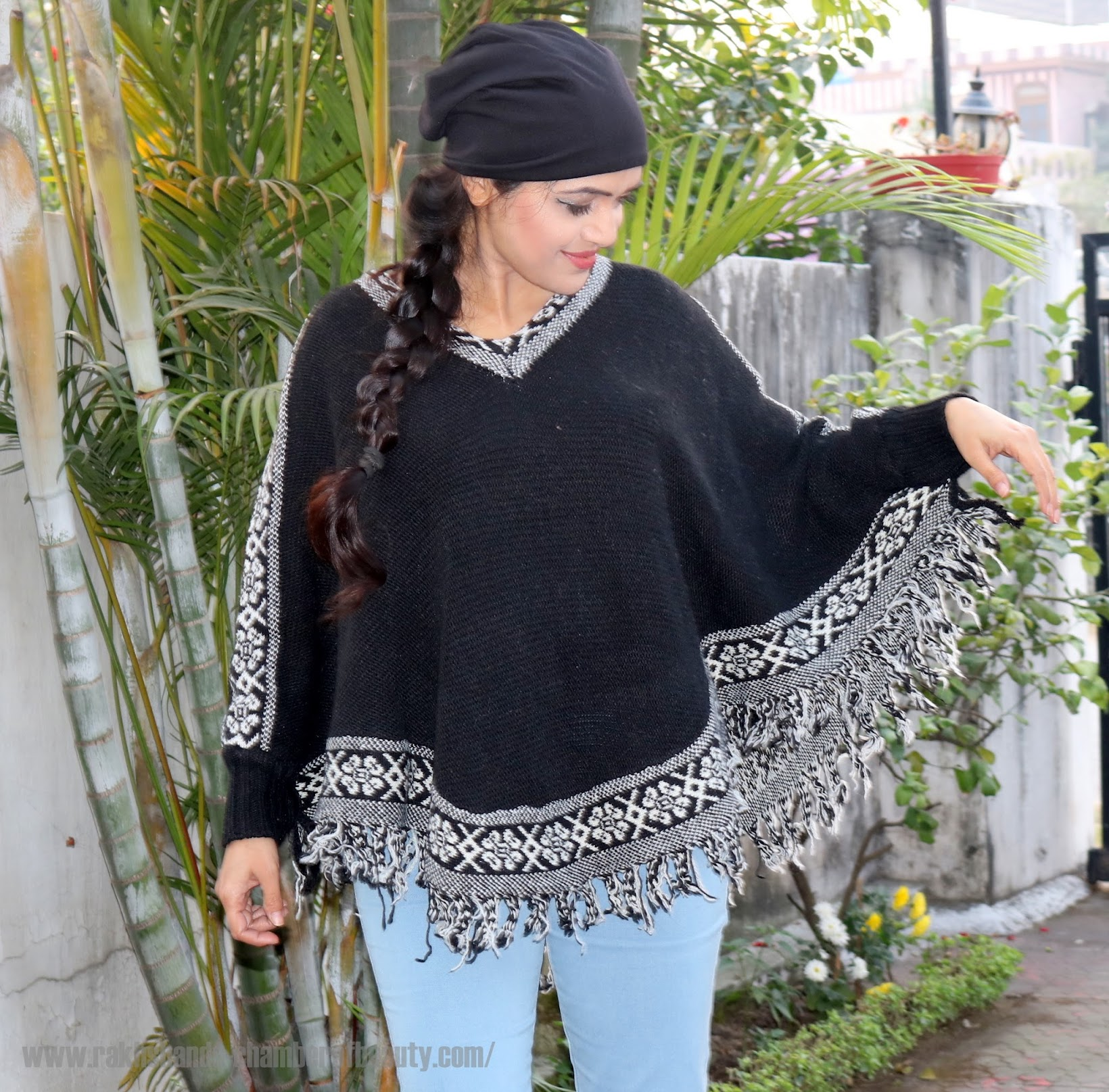 Styling a knitted poncho in winters ft. wholesalebuying.com