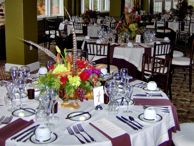 Fall Wedding Reception Table with Centerpieces