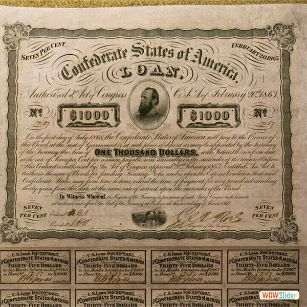 Confederate States Bond of 1863 depicting General Stonewall Jackson