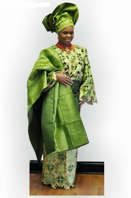 African Clothing Exquisite Handcut Green Lace Aso Oke