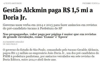 Geraldo Alckmin PSDB  usa  dinheiro público R$ 1.500.000,00  para anúncios de João Doria Jr.