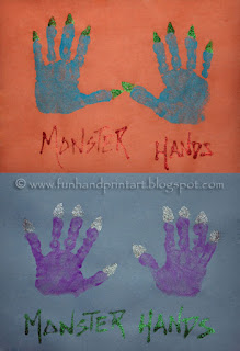 Handprint Monster Hands craft for kids