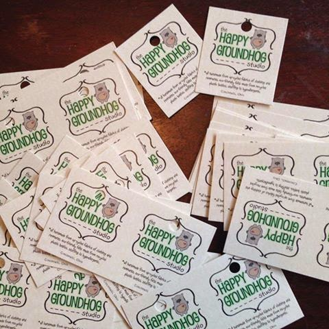 "GotPrint ""The Happy Groundhog Studio"" hang tags and business cards"