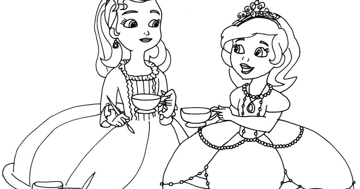 sofia the first coloring pages tea cups party sofia the first - Princess Tea Party Coloring Pages