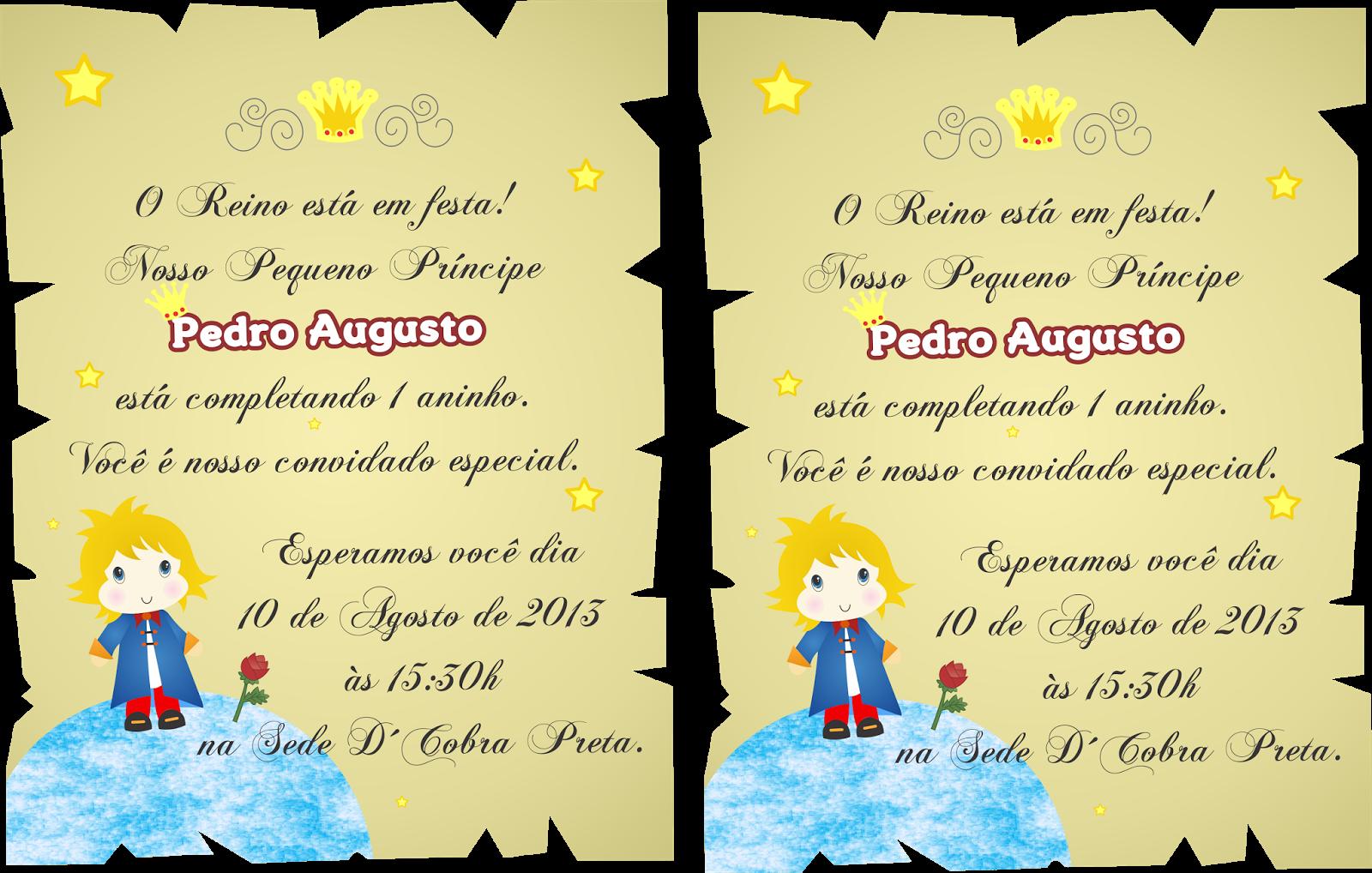 Artestatti: Convite Pequeno Príncipe