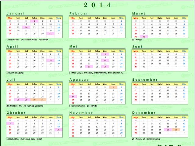Download Master Kalender Tahun 2014