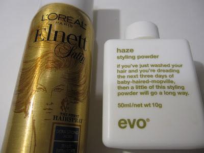 l'oreal elnett satin extra strong hold hairspray, evo haze styling powder