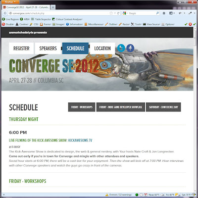 Screen shot of http://convergese.com/schedule.php.
