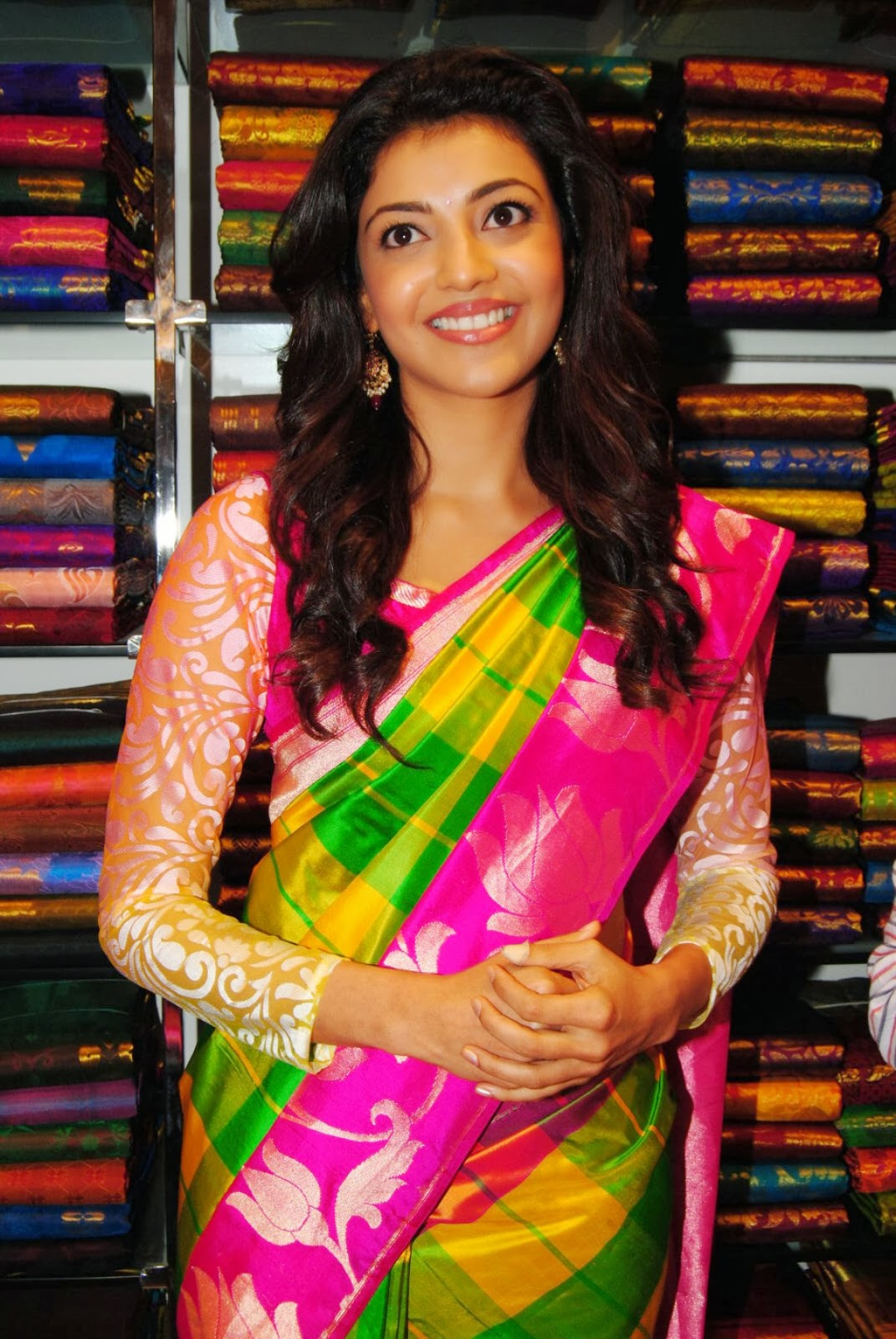Cute Kajal agarwal photos in ethnic saree at shopping mall launch bollywood, Tollywood, sweetheat, hot sexy actress curvy, pic collection, image gallery