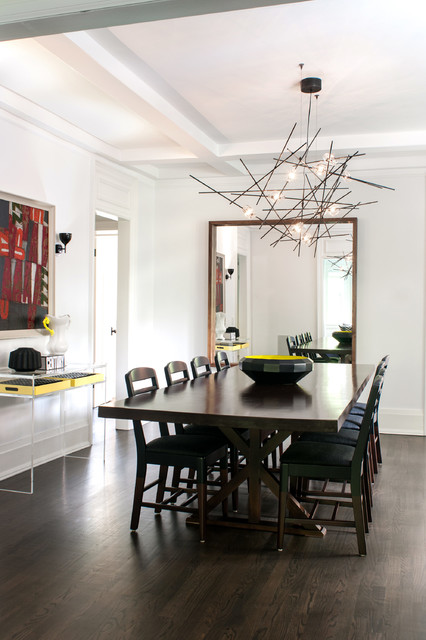 Interesting Lamp on White Ceiling above Black Dining Room Tables And Chairs near the Wide Mirror