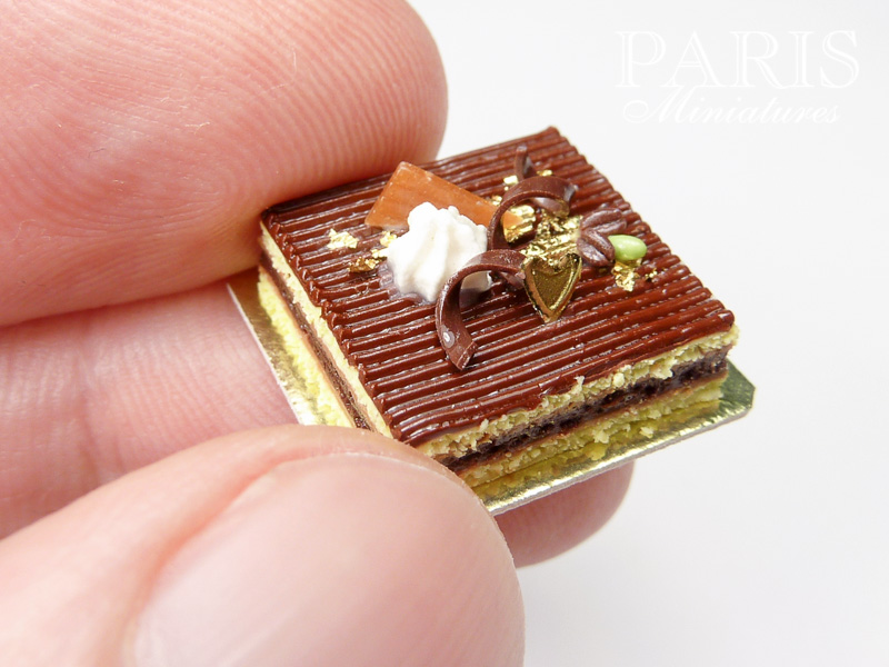 Chocolate opera cake in miniature for dollshouse