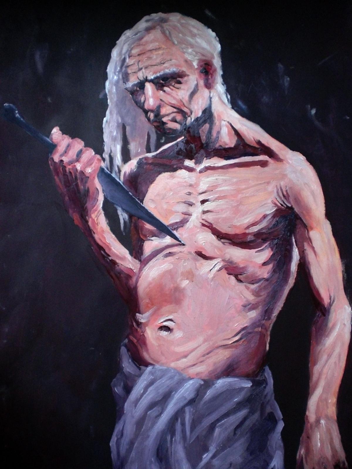 Gammel mand selvmord med stor kniv