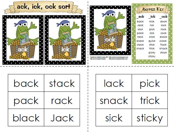 Sailing Through 1st Grade: -ack, -ick, -ock Word Sort