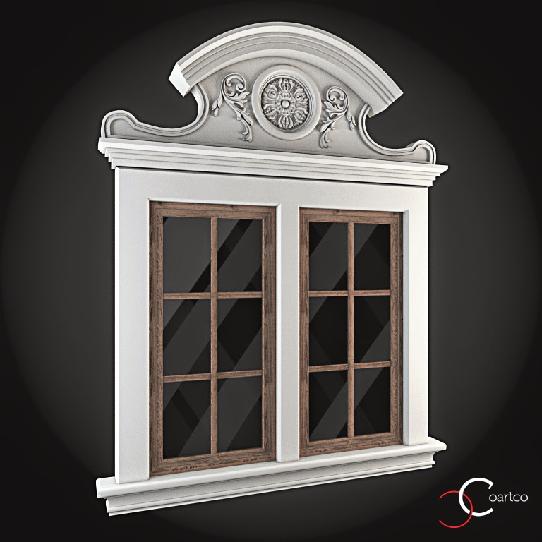 Ornamente Geamuri Exterior, fatade case cu profile decorative polistiren, profile fatada,  Model Cod: WIN-085