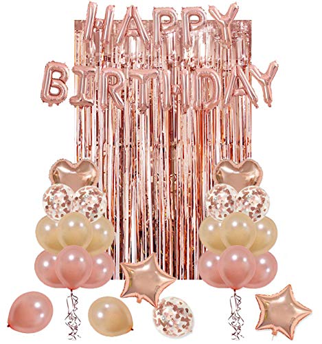 UTOPP Rose Gold Birthday Party Decorations Kit Happy Balloons Banner Heart Star Foil Latex Confetti Metallic