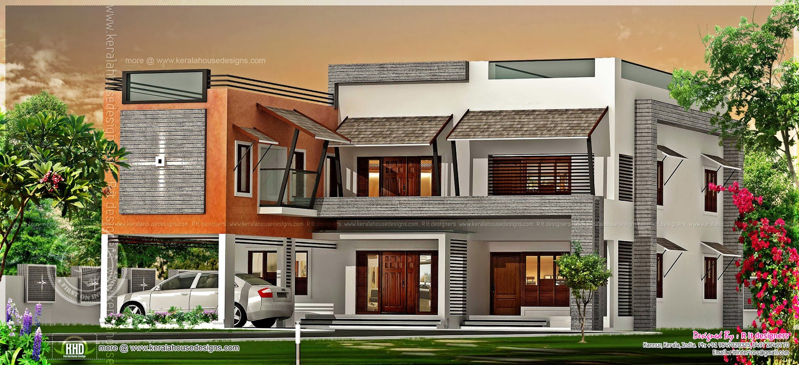 Luxury flat roof house in kannur kerala kerala home Flat house plans