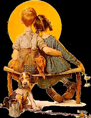 pareja de niños retro mirando la luna