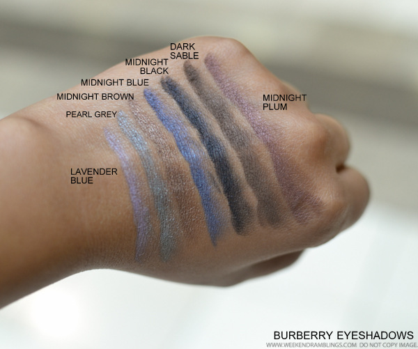 Burberry Eyeshadow Swatches - Lavender Blue Pearl Grey Midnight Brown Blue Black Plum Dark Sable