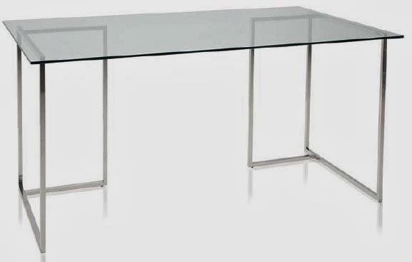 Muebles de forja mesa escritorio de aluminio inox y cristal - Mesa estudio cristal ...