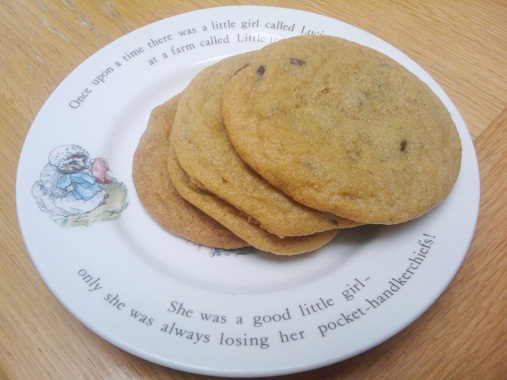 Chocolate Chip Cookies on Beatrix Potter Mrs Tiggywinkle Plate