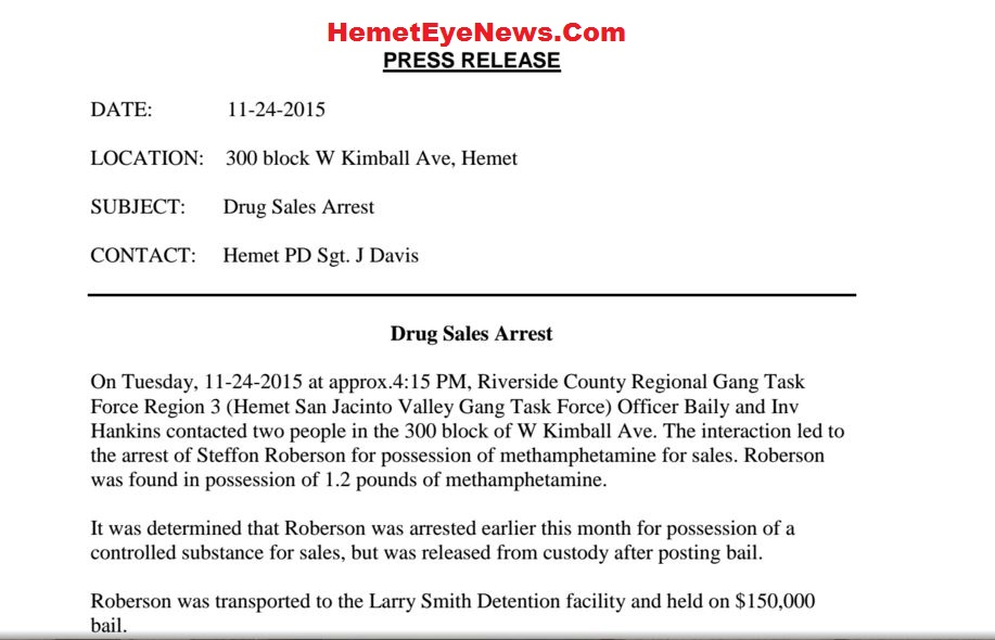 hemet san jacinto valley gang task force arrest steffon roberson for rh ourcommunitytv blogspot com