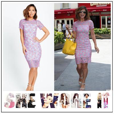 Back Detail, Dress, Eyelash Lace, Floral Pattern, Hot Pink, Lace, Light Blue, Myleene Klass, Myleene Klass For Littlewoods, Open Back, Overlay, Pencil Dress, Sheer, Short Sleeve, Slip Layer,