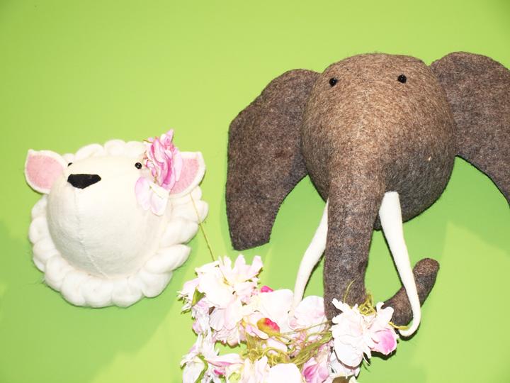éléphant trophée Laurette déco pour chambre d'enfant