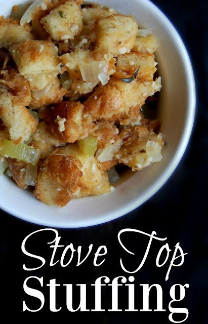 Great stove top stuffing recipe! The stuffing that comes in the classic box is not healthy at all. It's full of awful ingredients such as MSG, high fructose corn syrup, soy, partially hydrogenated oils, a bunch of preservatives and many more unnatural ingredients.