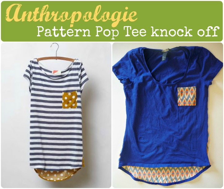 DIY anthropologie pattern pop tee knock off sewing tutorial