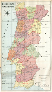 Portugal, Mapa Administrativo de Portugal