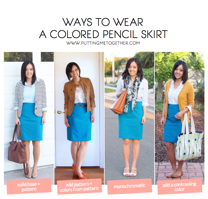 putting me together ways to wear a colored pencil skirt