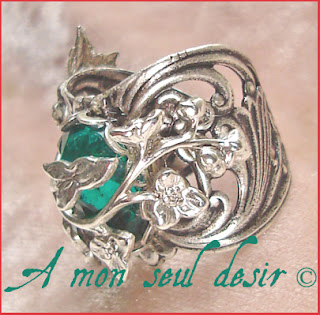 bague elfique vert émeraude elfe bijou arwen galadriel fée féerique végétal médiéval renaissance forêt elven elf green emerald ring