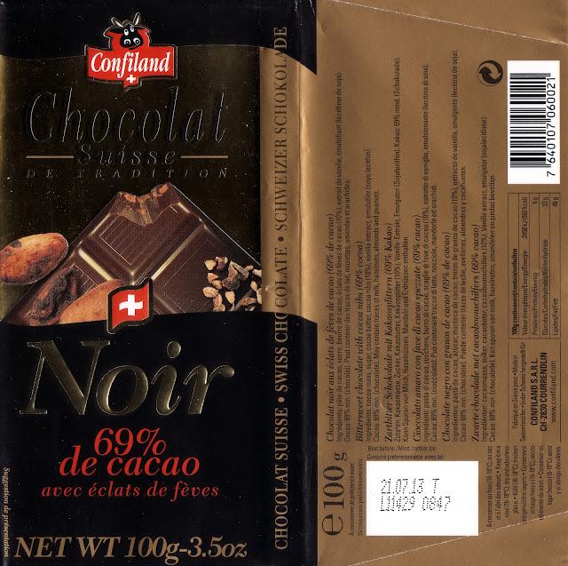 tablette de chocolat noir gourmand confiland noir avec eclats de fèves
