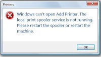 fix a printer spooler error