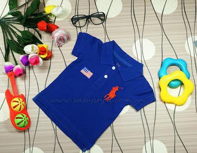 Áo Polo dành cho bé gái cực cute màu Xanh