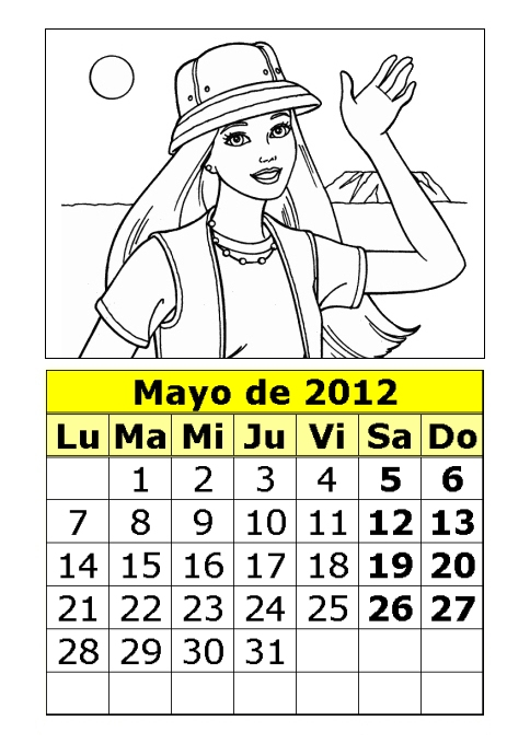 Calendario de la Barbie para colorear de 2012 (2ª parte ...
