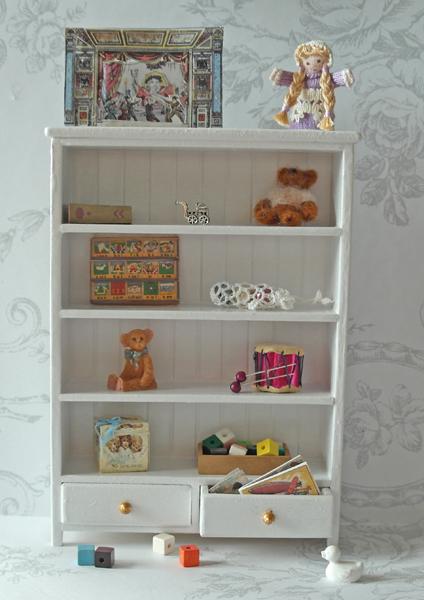 All about dollhouses and miniatures speelgoedkast voor de kinderkamer van het poppenhuis - Kast voor het opslaan van boeken ...