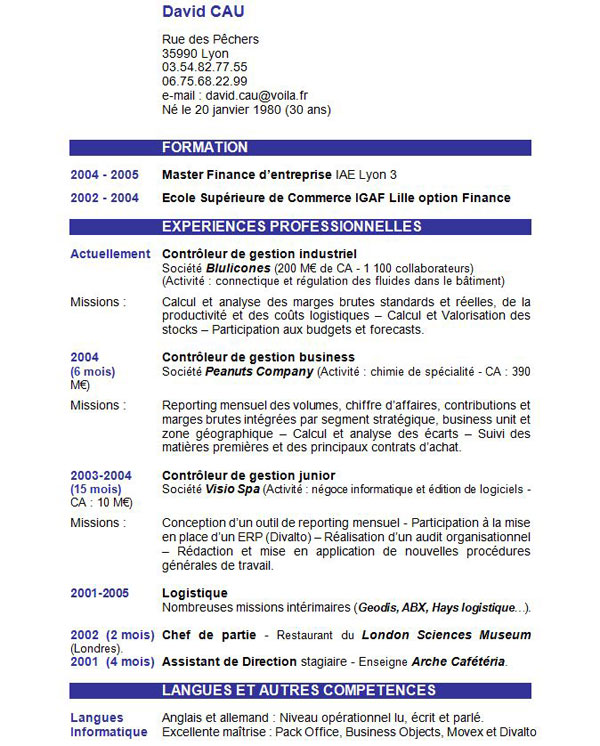 resume format  formulaire cv a telecharger