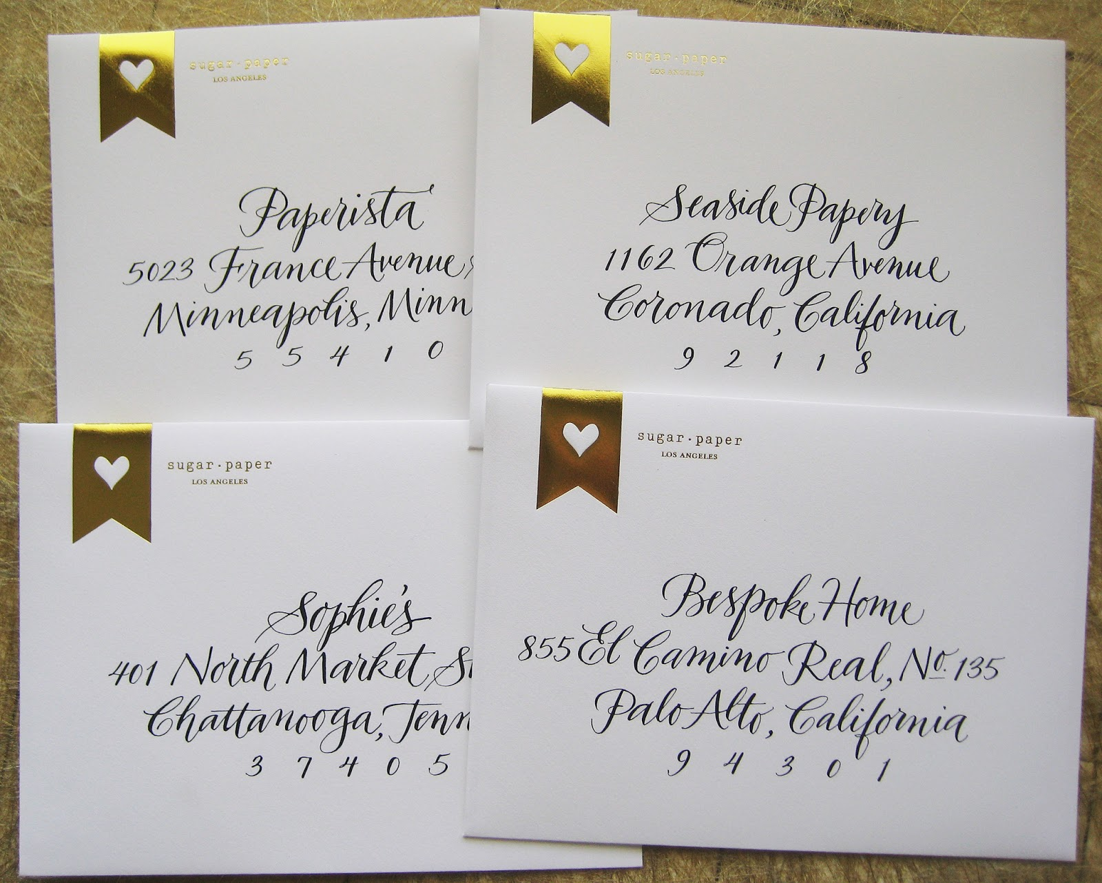 A To Z Calligraphy Envelope Samples